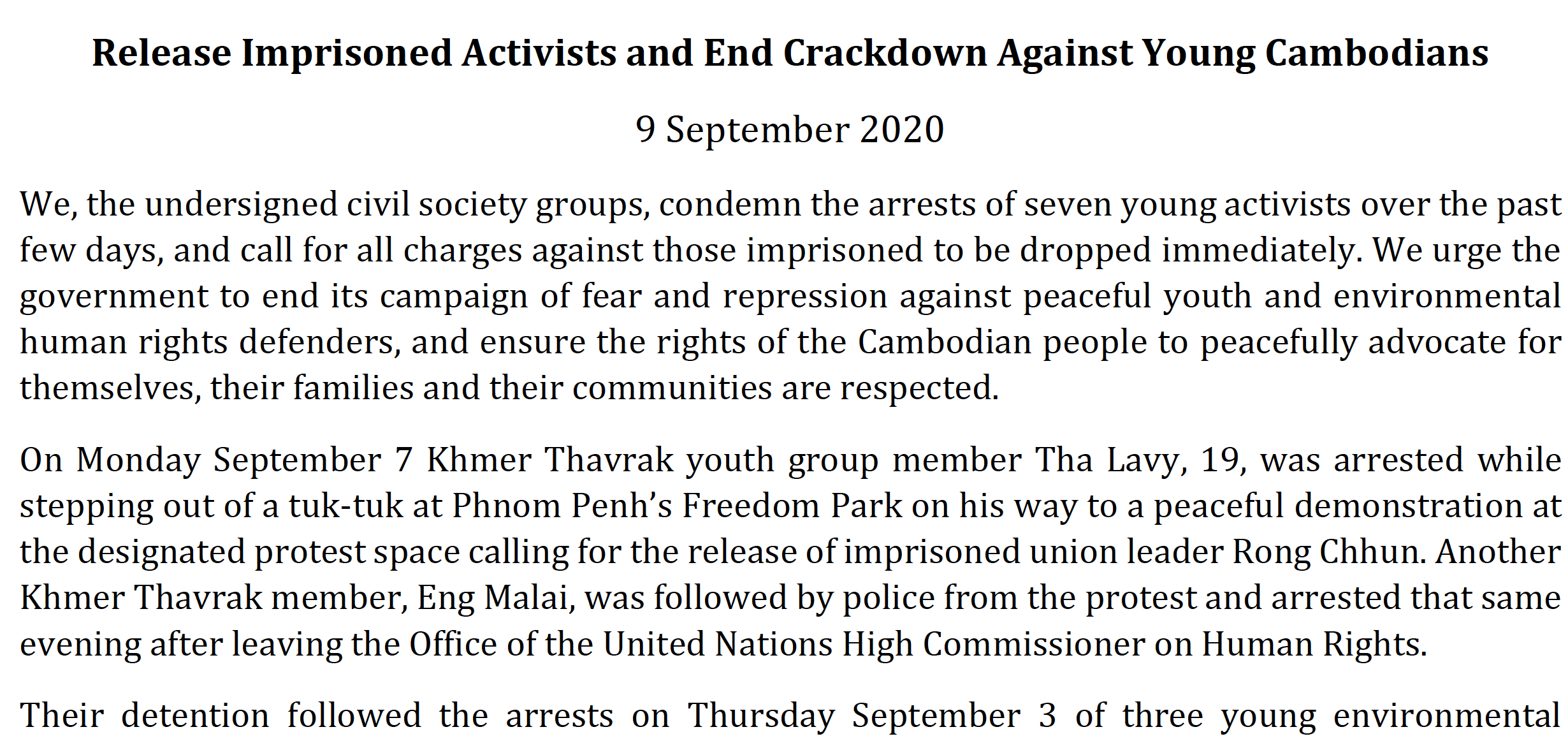 Release Imprisoned Activists and End Crackdown Against Young Cambodians